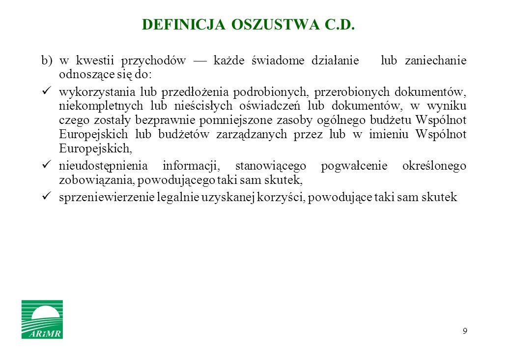 DEFINICJA OSZUSTWA C.D. b) w kwestii przychodów — każde świadome działanie lub zaniechanie odnoszące się do:
