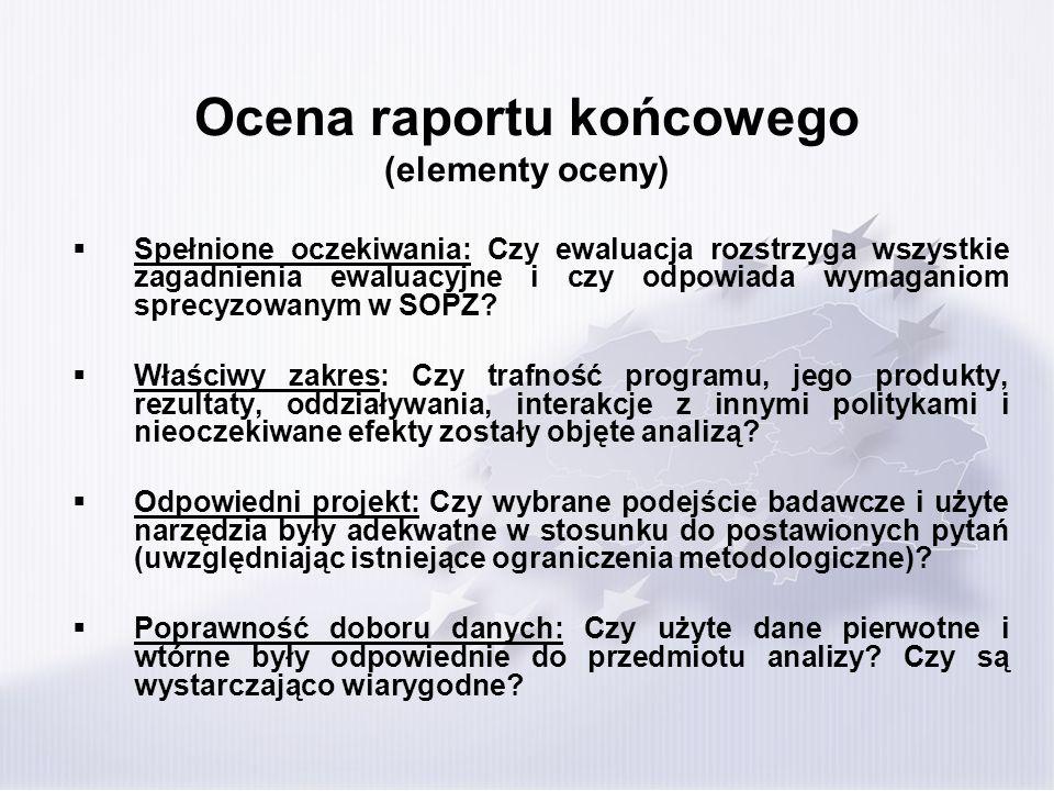 Ocena raportu końcowego (elementy oceny)