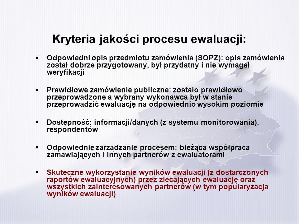 Kryteria jakości procesu ewaluacji: