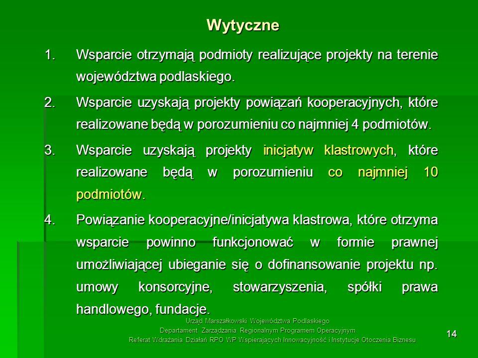 WytyczneWsparcie otrzymają podmioty realizujące projekty na terenie województwa podlaskiego.
