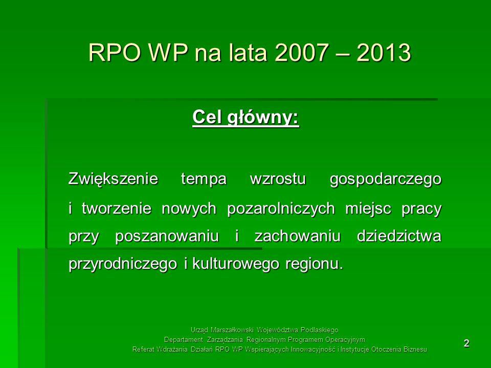 RPO WP na lata 2007 – 2013 Cel główny: