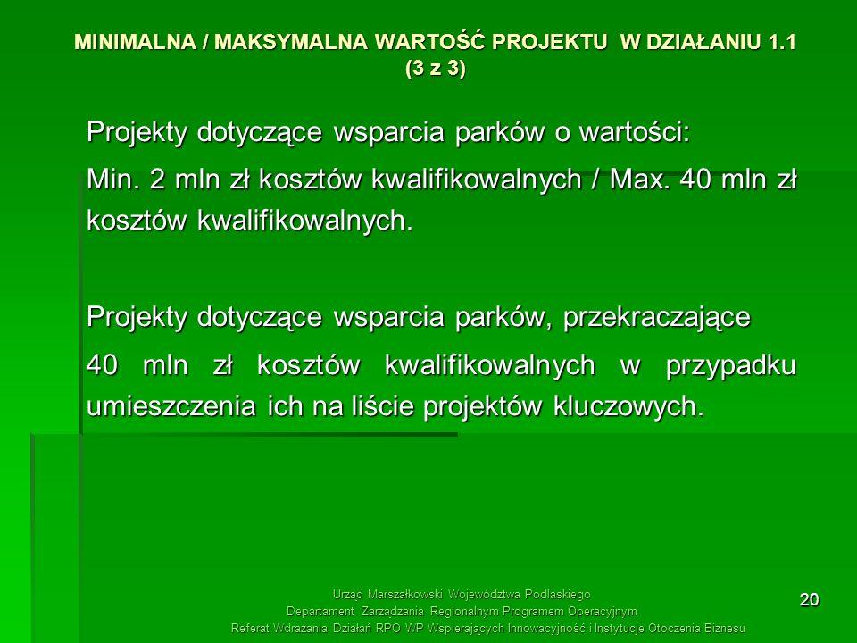 MINIMALNA / MAKSYMALNA WARTOŚĆ PROJEKTU W DZIAŁANIU 1.1 (3 z 3)