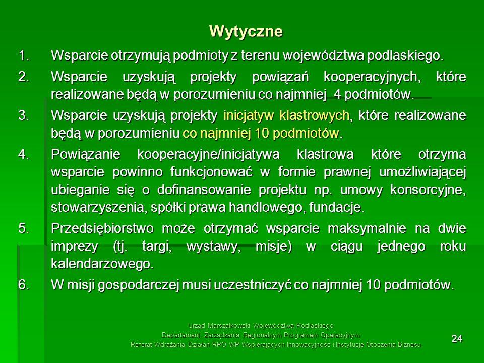 Wytyczne Wsparcie otrzymują podmioty z terenu województwa podlaskiego.