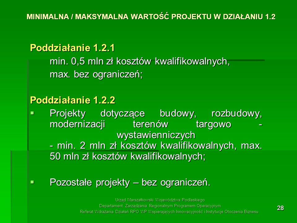 MINIMALNA / MAKSYMALNA WARTOŚĆ PROJEKTU W DZIAŁANIU 1.2