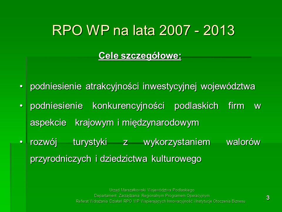 RPO WP na lata 2007 - 2013 Cele szczegółowe: