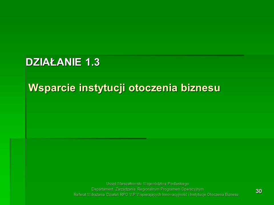 DZIAŁANIE 1.3 Wsparcie instytucji otoczenia biznesu