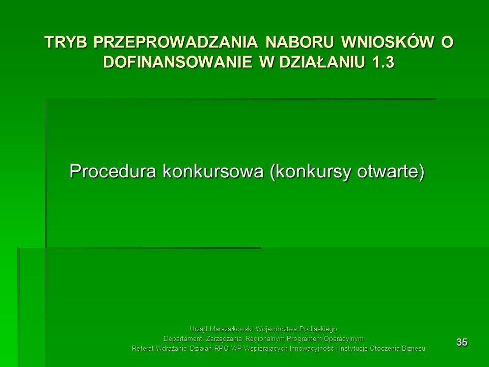 TRYB PRZEPROWADZANIA NABORU WNIOSKÓW O DOFINANSOWANIE W DZIAŁANIU 1.3