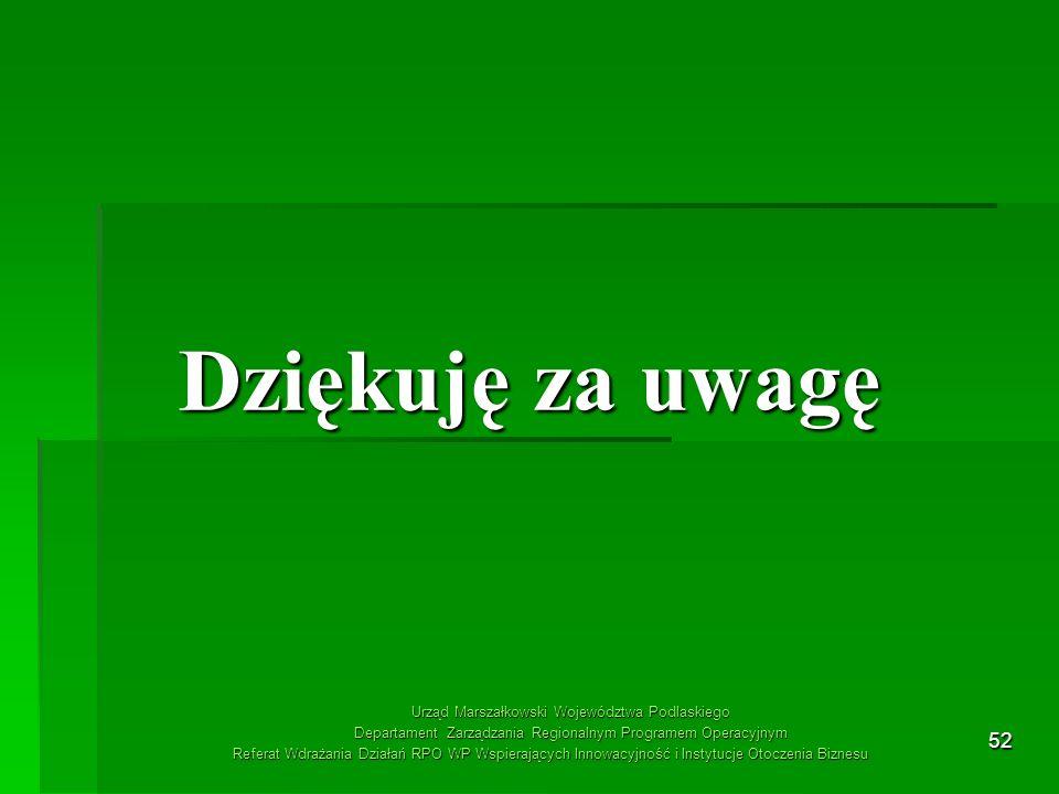 Dziękuję za uwagę Urząd Marszałkowski Województwa Podlaskiego