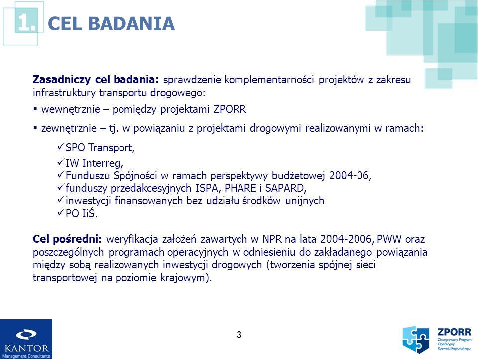 CEL BADANIA Zasadniczy cel badania: sprawdzenie komplementarności projektów z zakresu infrastruktury transportu drogowego: