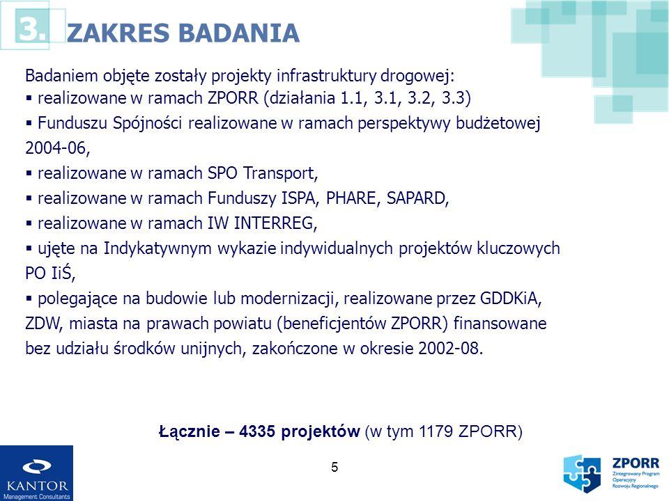 ZAKRES BADANIA Badaniem objęte zostały projekty infrastruktury drogowej: realizowane w ramach ZPORR (działania 1.1, 3.1, 3.2, 3.3)