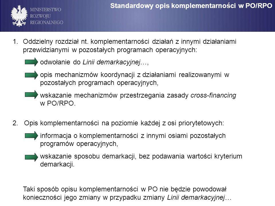 Standardowy opis komplementarności w PO/RPO