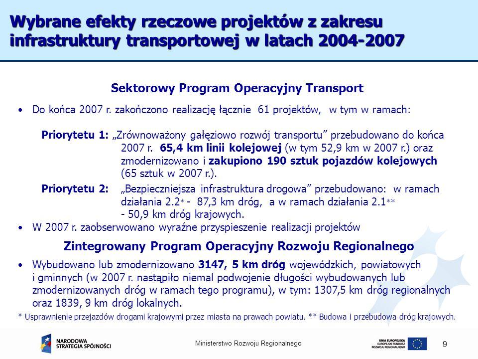 Wybrane efekty rzeczowe projektów z zakresu infrastruktury transportowej w latach 2004-2007