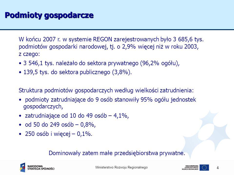 Podmioty gospodarcze W końcu 2007 r. w systemie REGON zarejestrowanych było 3 685,6 tys.