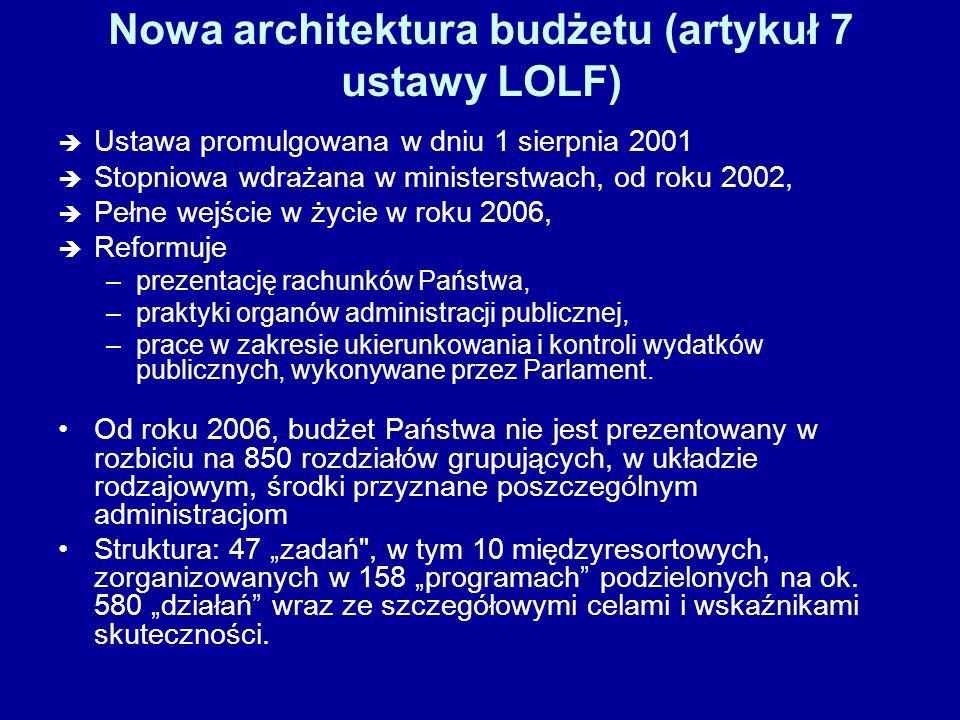 Nowa architektura budżetu (artykuł 7 ustawy LOLF)