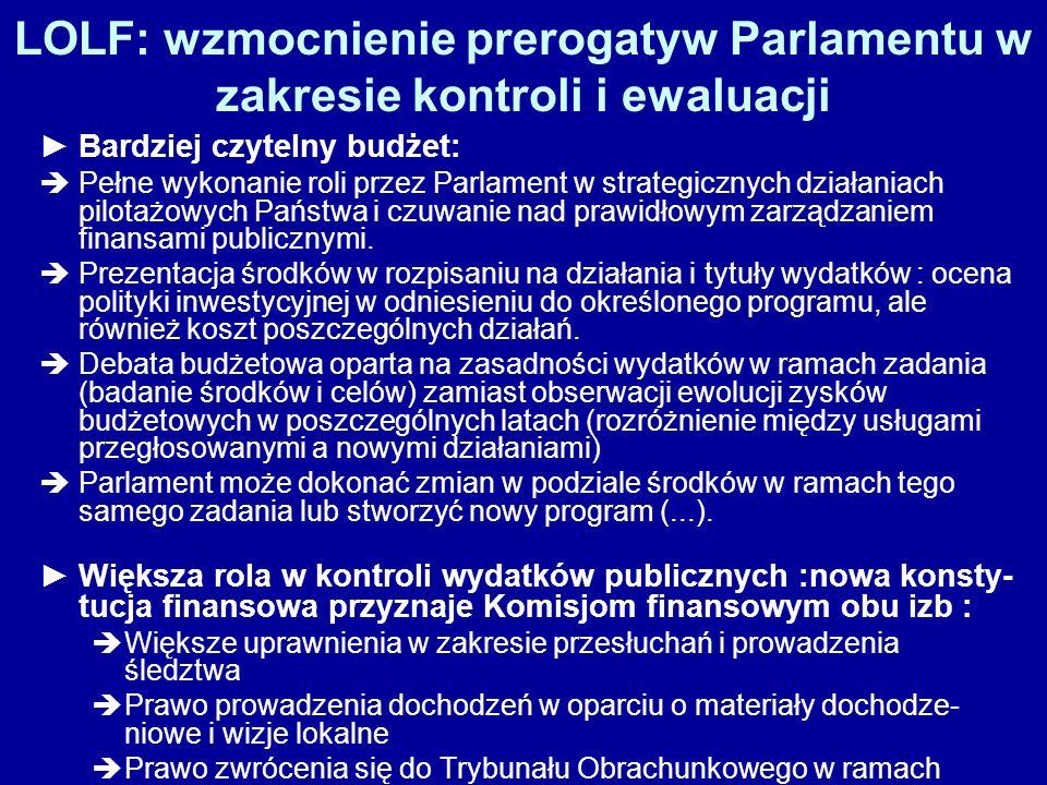 LOLF: wzmocnienie prerogatyw Parlamentu w zakresie kontroli i ewaluacji