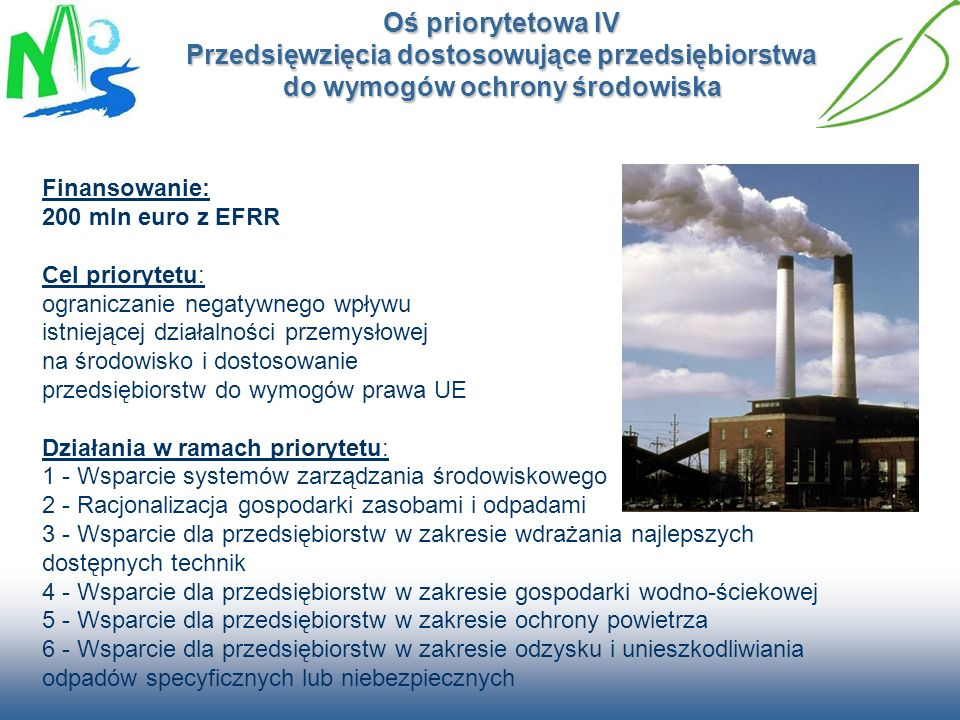 Oś priorytetowa IV Przedsięwzięcia dostosowujące przedsiębiorstwa do wymogów ochrony środowiska