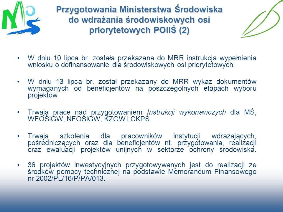 Przygotowania Ministerstwa Środowiska do wdrażania środowiskowych osi priorytetowych POIiŚ (2)
