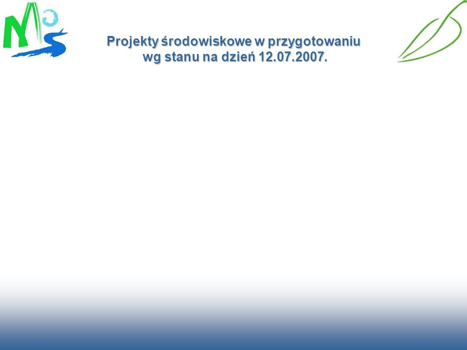 Projekty środowiskowe w przygotowaniu wg stanu na dzień 12.07.2007.