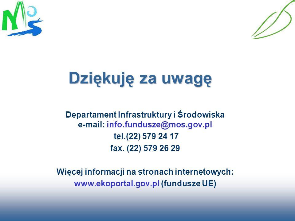 Dziękuję za uwagę Departament Infrastruktury i Środowiska e-mail: info.fundusze@mos.gov.pl. tel.(22) 579 24 17.