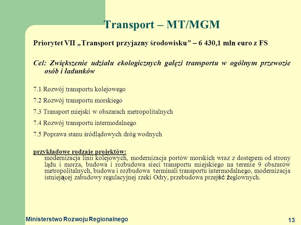 """Transport – MT/MGM Priorytet VII """"Transport przyjazny środowisku – 6 430,1 mln euro z FS."""