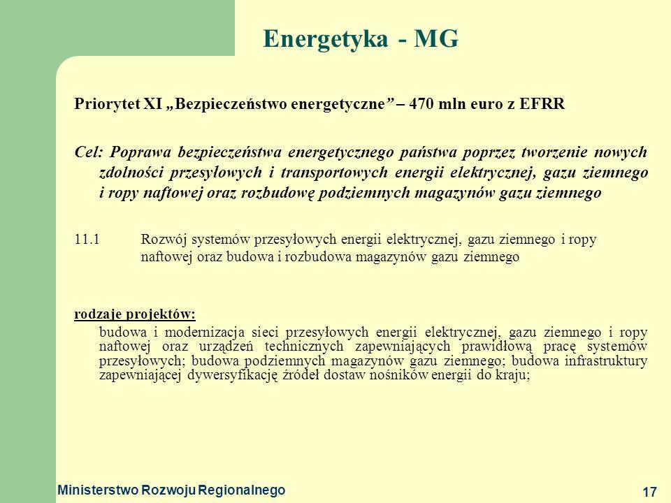 """Energetyka - MG Priorytet XI """"Bezpieczeństwo energetyczne – 470 mln euro z EFRR."""