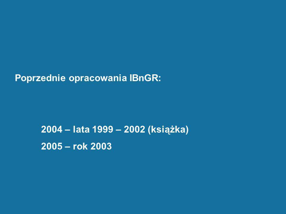 Poprzednie opracowania IBnGR: