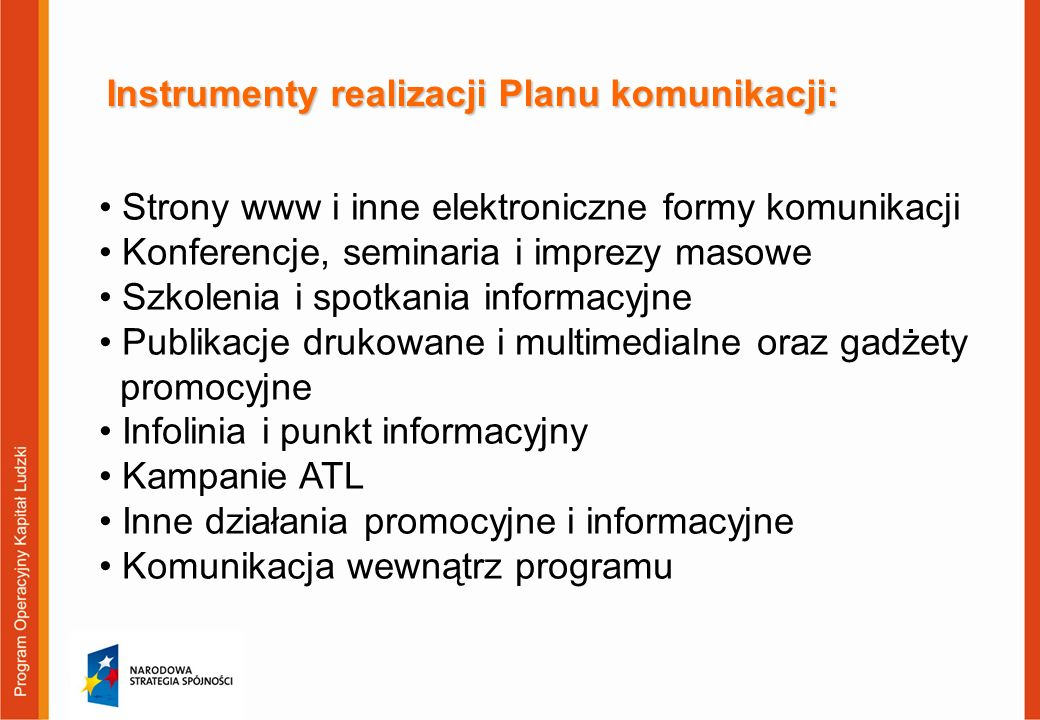 Instrumenty realizacji Planu komunikacji:
