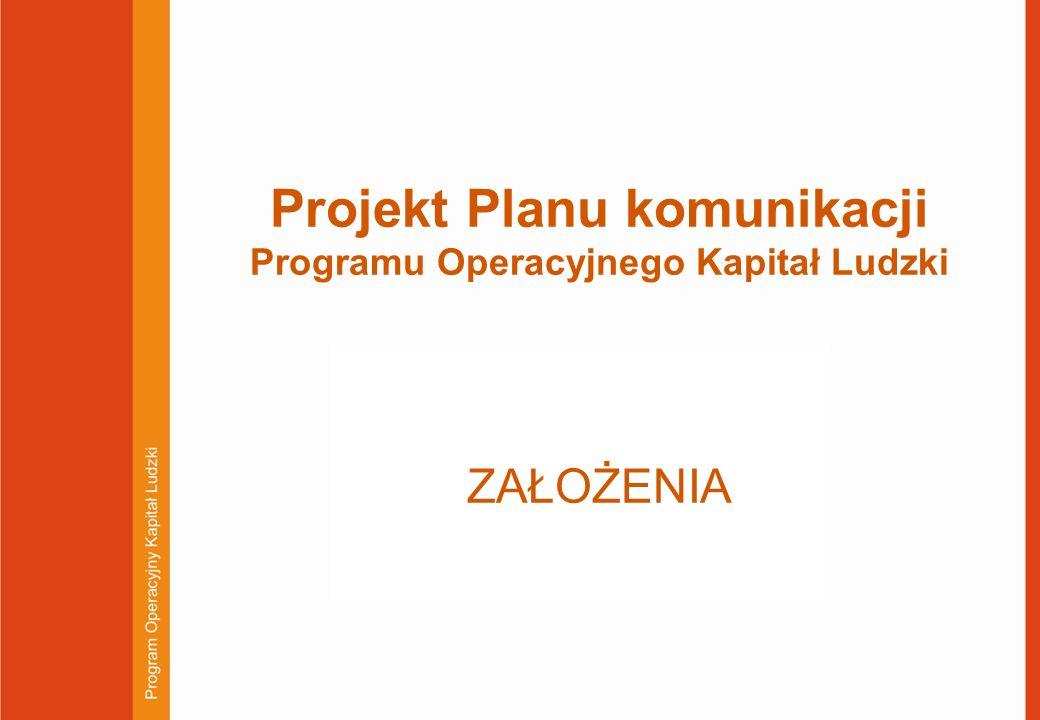 Projekt Planu komunikacji Programu Operacyjnego Kapitał Ludzki ZAŁOŻENIA