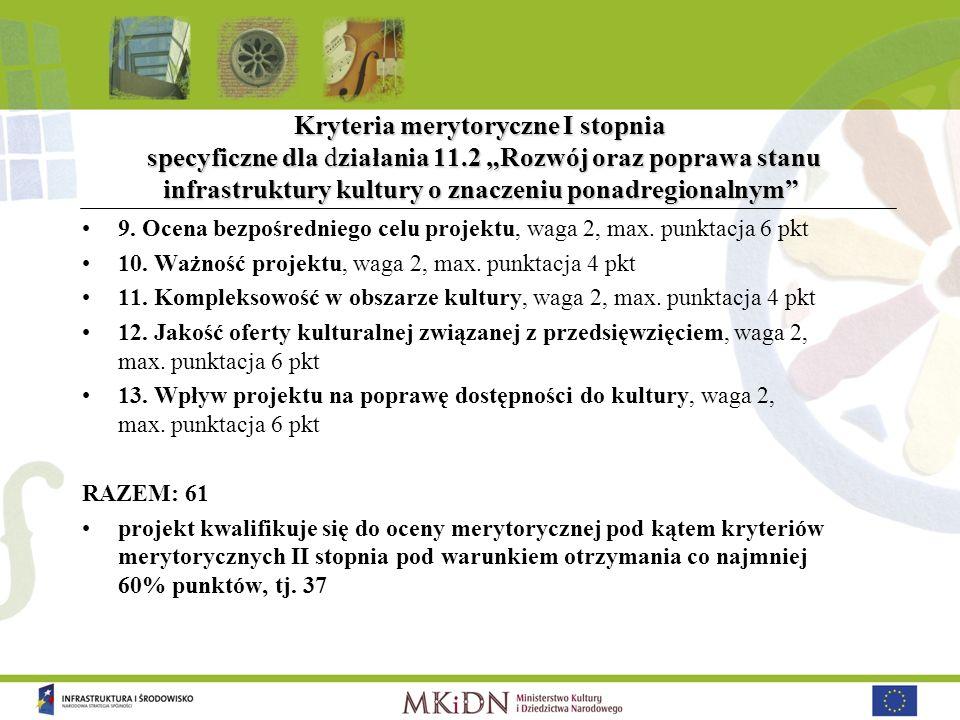 Kryteria merytoryczne I stopnia specyficzne dla działania 11