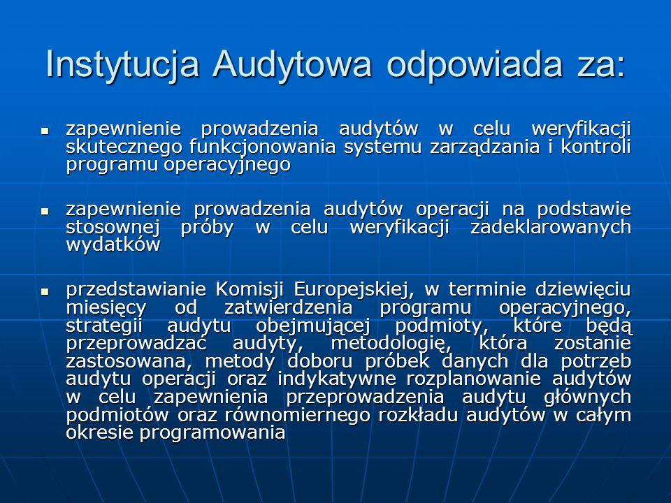 Instytucja Audytowa odpowiada za:
