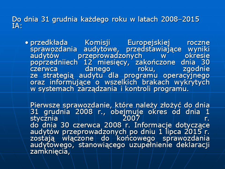 Do dnia 31 grudnia każdego roku w latach 2008–2015 IA: