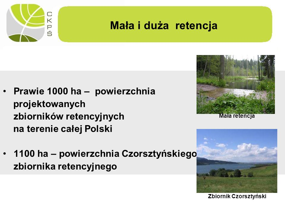 Mała i duża retencja Prawie 1000 ha – powierzchnia projektowanych