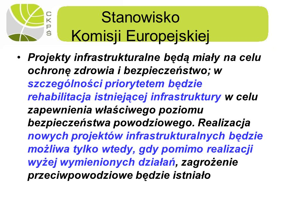 Stanowisko Komisji Europejskiej