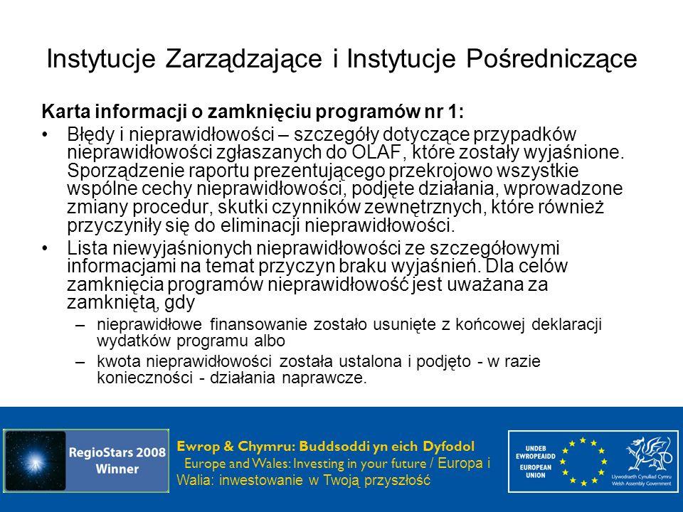 Instytucje Zarządzające i Instytucje Pośredniczące