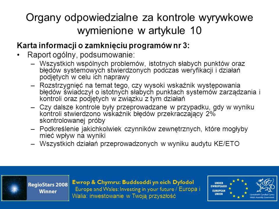 Organy odpowiedzialne za kontrole wyrywkowe wymienione w artykule 10