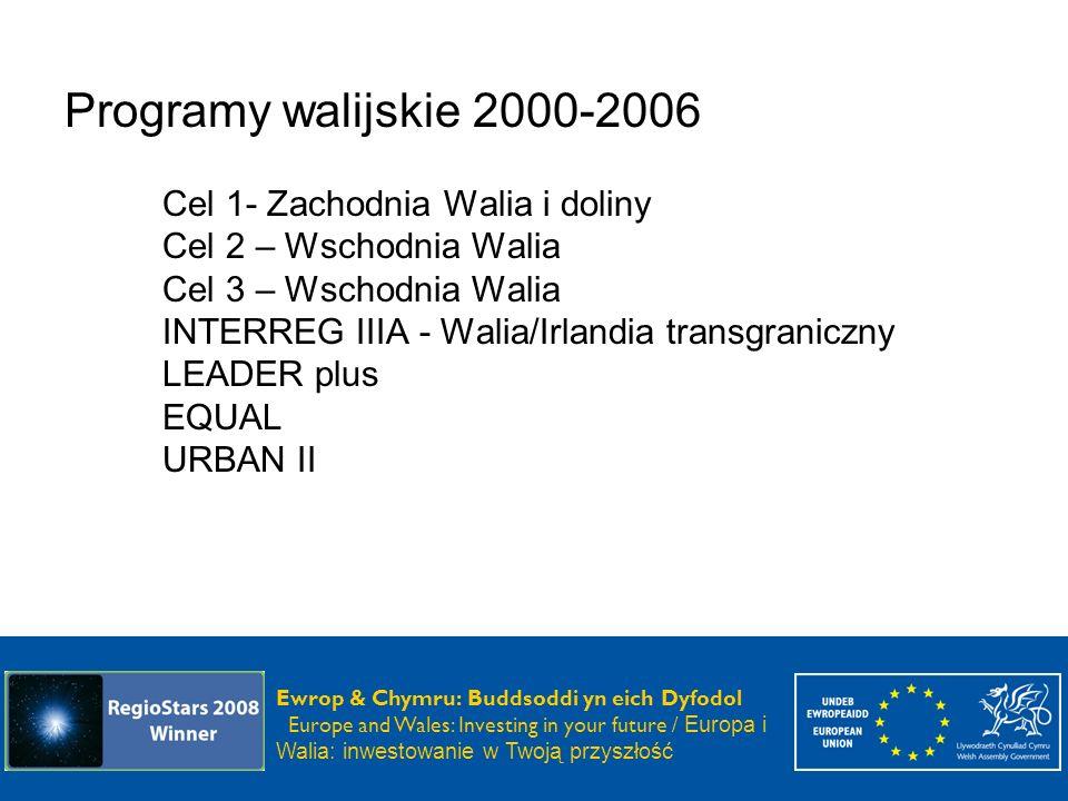 Programy walijskie 2000-2006 Cel 1- Zachodnia Walia i doliny Cel 2 – Wschodnia Walia Cel 3 – Wschodnia Walia INTERREG IIIA - Walia/Irlandia transgraniczny LEADER plus EQUAL URBAN II