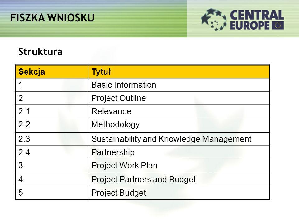 FISZKA WNIOSKU Struktura Sekcja Tytuł 1 Basic Information 2