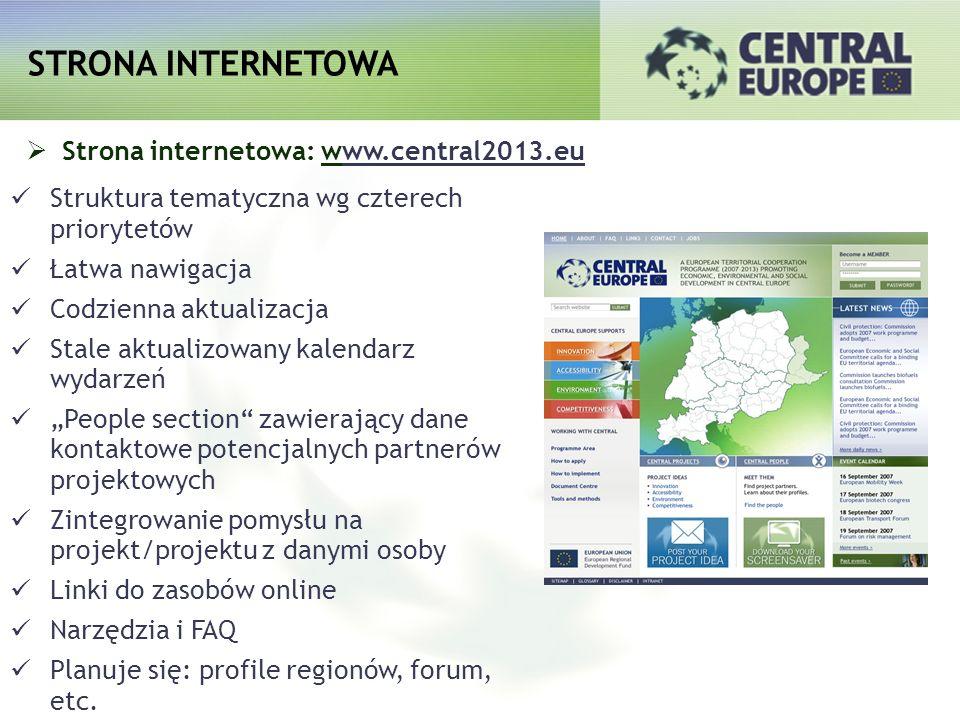 STRONA INTERNETOWA Strona internetowa: www.central2013.eu