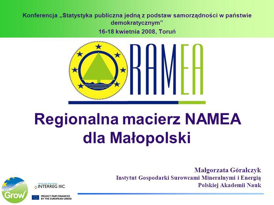 Regionalna macierz NAMEA dla Małopolski