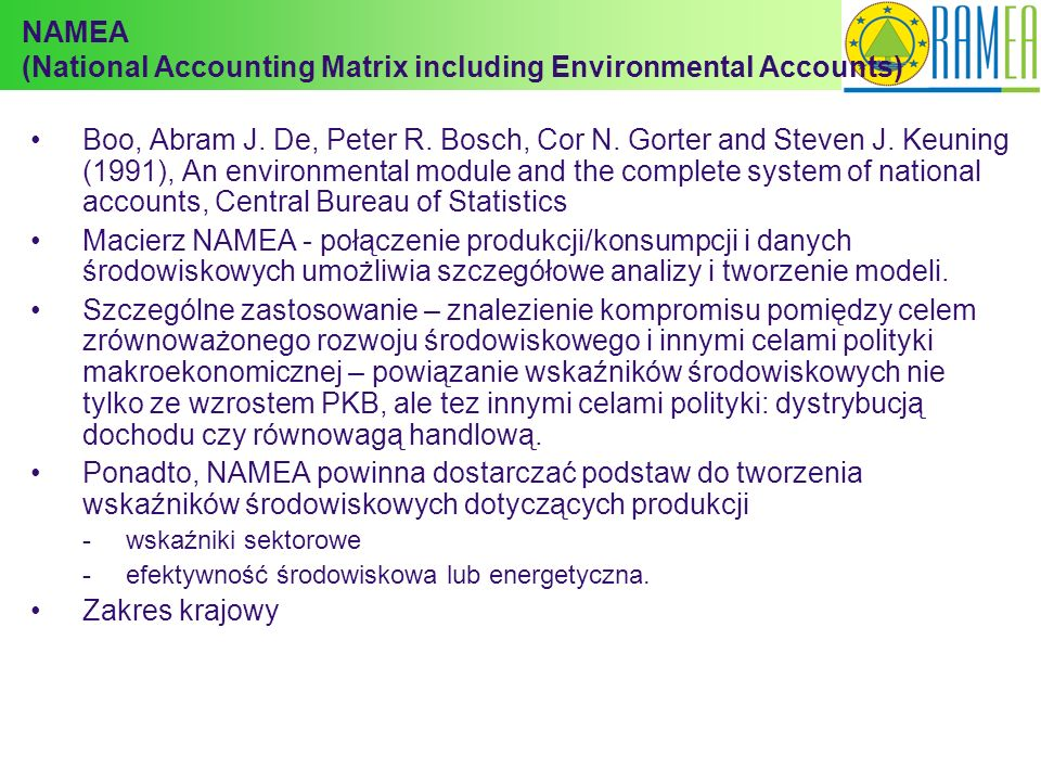 NAMEA (National Accounting Matrix including Environmental Accounts)