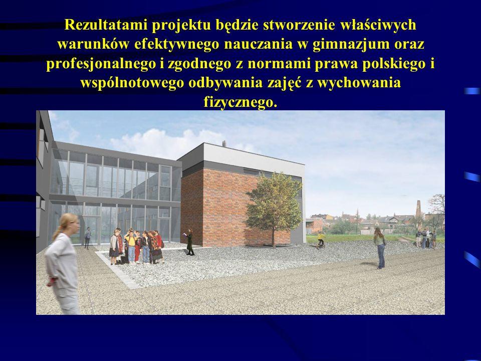 Rezultatami projektu będzie stworzenie właściwych warunków efektywnego nauczania w gimnazjum oraz profesjonalnego i zgodnego z normami prawa polskiego i wspólnotowego odbywania zajęć z wychowania fizycznego.