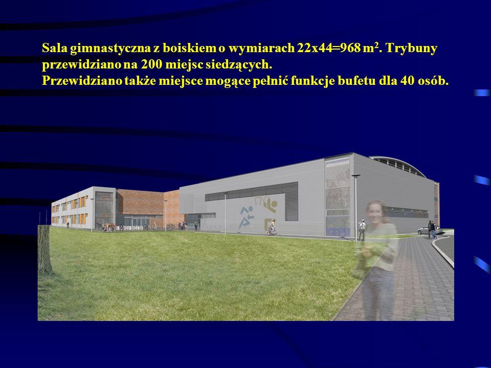 Sala gimnastyczna z boiskiem o wymiarach 22x44=968 m2