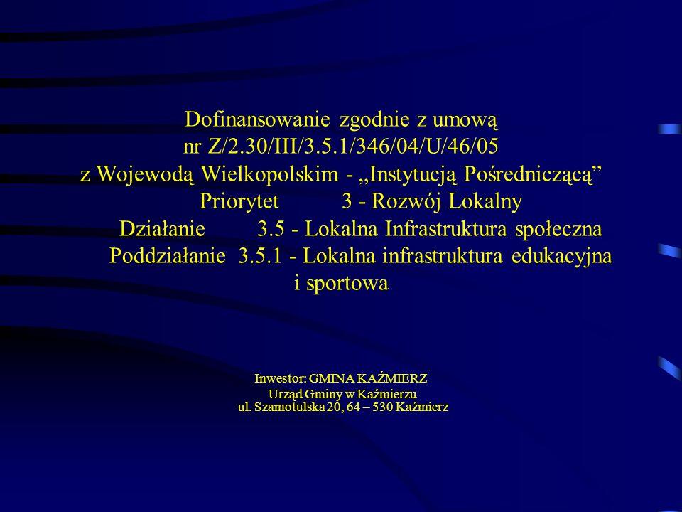 Dofinansowanie zgodnie z umową nr Z/2. 30/III/3. 5