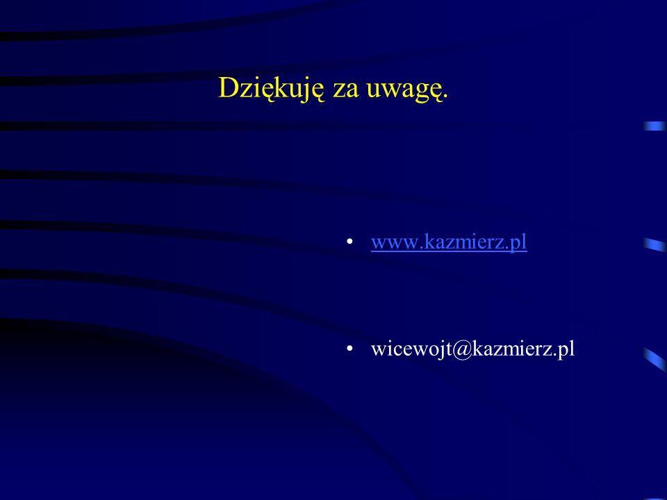 Dziękuję za uwagę. www.kazmierz.pl wicewojt@kazmierz.pl