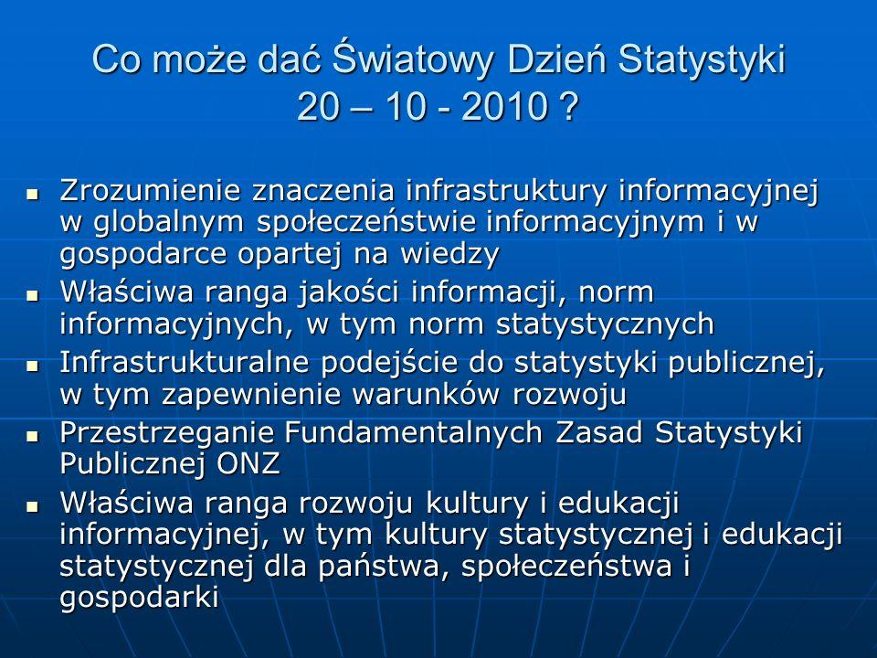 Co może dać Światowy Dzień Statystyki 20 – 10 - 2010