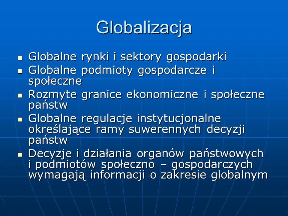 Globalizacja Globalne rynki i sektory gospodarki