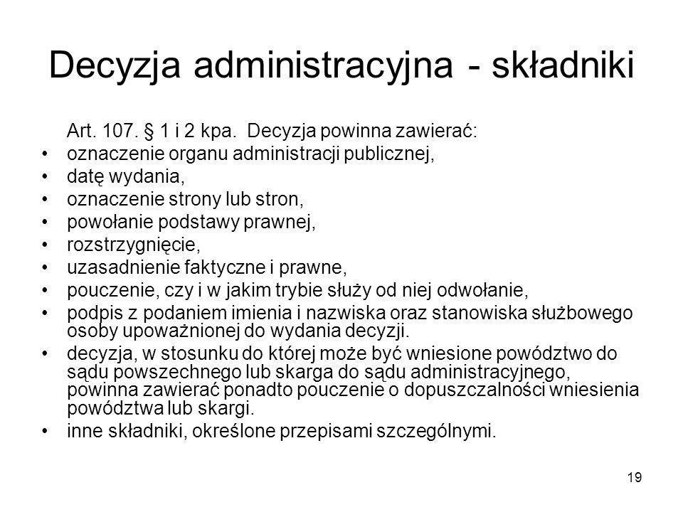 Decyzja administracyjna - składniki