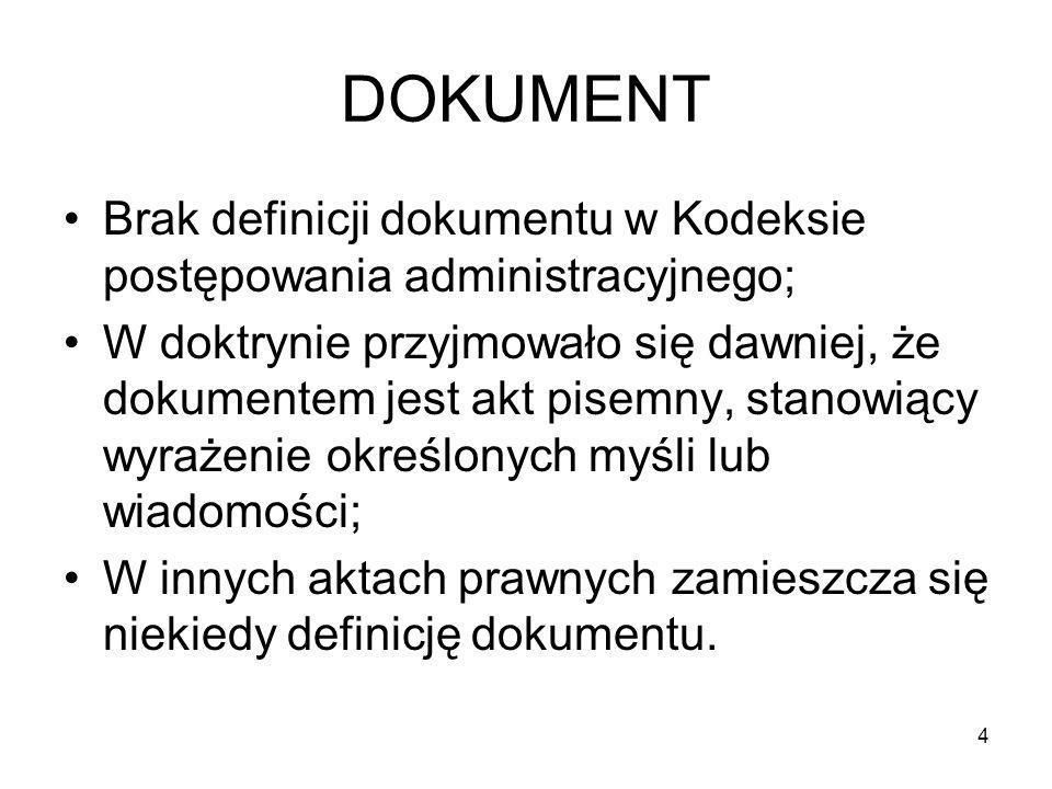 DOKUMENT Brak definicji dokumentu w Kodeksie postępowania administracyjnego;