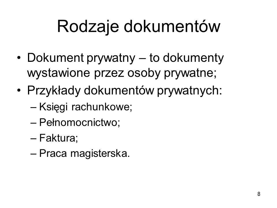 Rodzaje dokumentów Dokument prywatny – to dokumenty wystawione przez osoby prywatne; Przykłady dokumentów prywatnych: