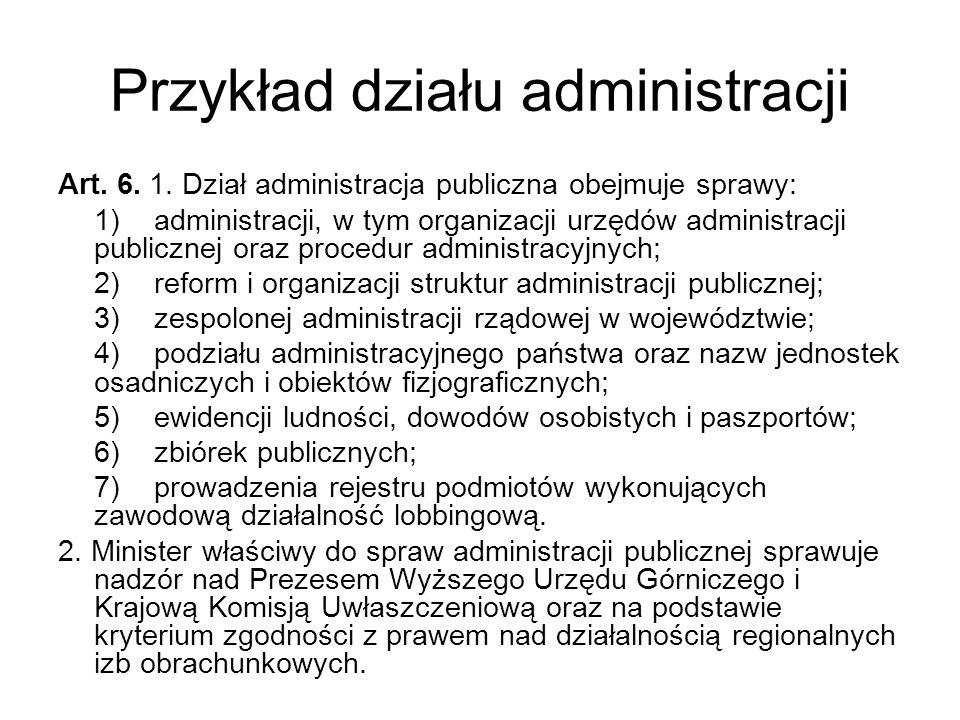 Przykład działu administracji